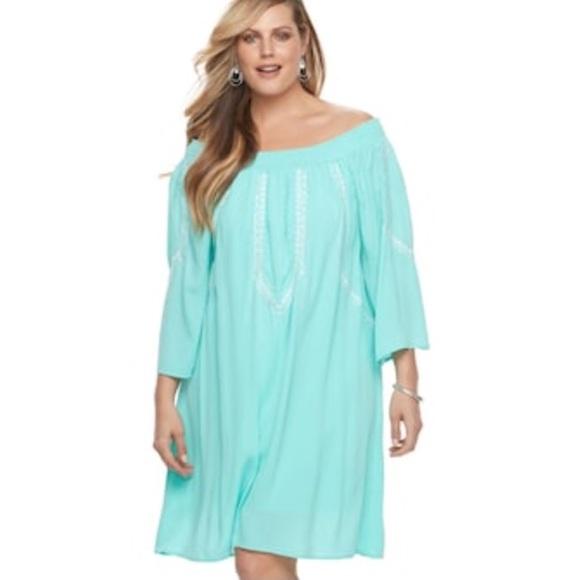 b26348460e29 Aqua - Mint Green Embroidered Off Shoulder Dress